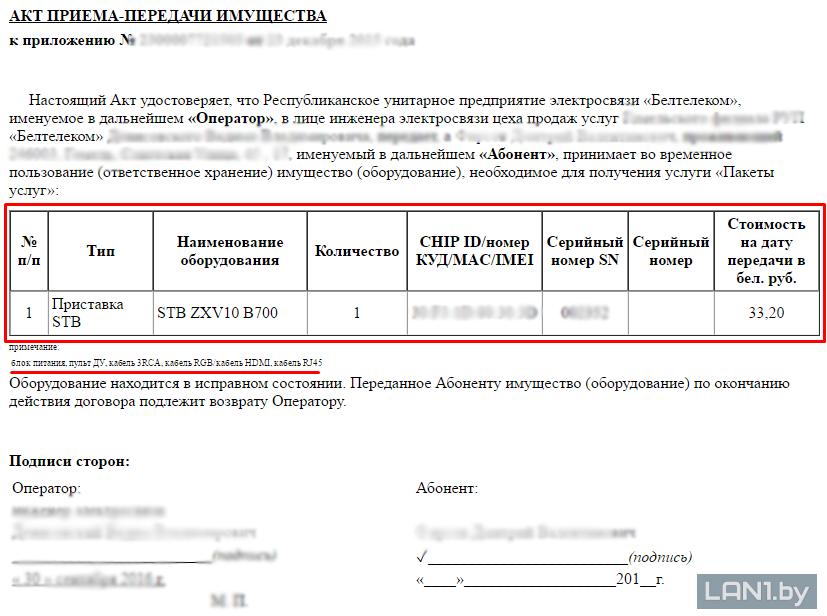 Акт приема-передачи имущества при получении приставки для услуги ZALA