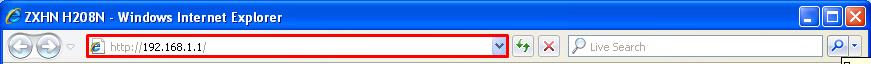 Рисунок 1 – В браузере Internet Explorer переходим к настройке модема по адресу «192.168.1.1»