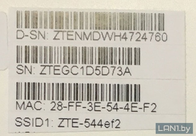 """Наклейка для подключения к """"Wi-Fi"""" на модеме (терминале) ZTE F660v5 (вариант 1)"""