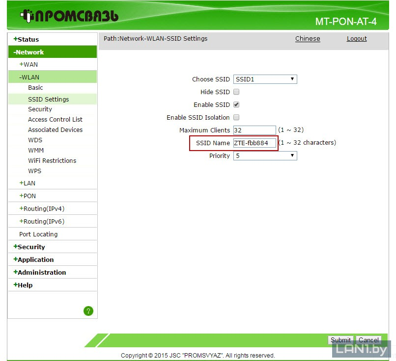 Раздел «WLAN»-«SSID Settings» в настройках модема (терминала) ZTE F660v5